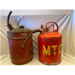LOT OF 2 VINTAGE FUEL CANS WITH NOZZLES