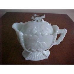 milk glass , Pitcher, embossed #1251714