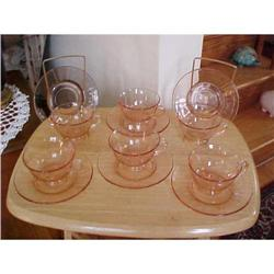Depression glass cups & Saucers (8) panel #1251759