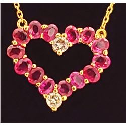 Jewelry - 14k Gold Diamond and Ruby Charm and Necklace