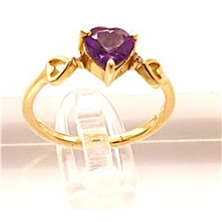 Jewelry -0.96 Carat 14K Solid Yellow Gold Color Me Purple Amethyst Diamond Ring