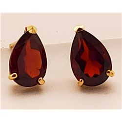 Jewelry - 3.15 Carat 14K Solid Yellow Gold Stud Earrings Natural Garnet