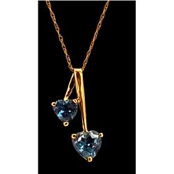 Jewelry - 1.4 Carat 14K Solid Yellow Gold Hearts Necklace Natural Blue Topaz