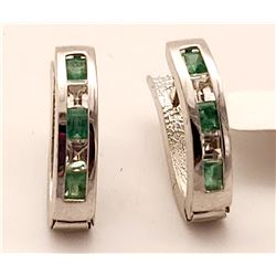 Jewelry - 1.26 Carat 14K Solid White Gold Inevitable You Emerald White Topaz Earrings