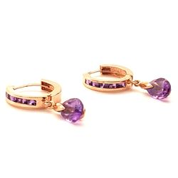 Jewelry - 3.3 Carat 14K Solid Rose Gold Huggie Earrings Dangling Amethyst