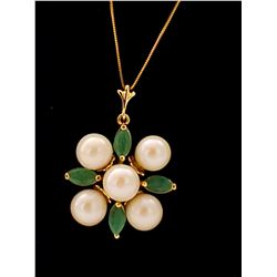Jewelry - 6.3 Carat 14K Solid Yellow Gold It Takes Two Emerald Pearl Necklace