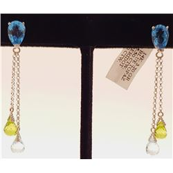 Jewelry - 7.5 Carat 14K Solid White Gold Chandelier Earrings Blue Topaz Peridot