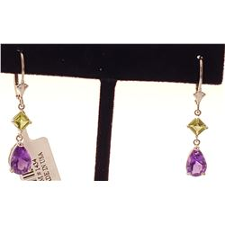 Jewelry - 4.5 Carat 14K Solid White Gold Leverback Earrings Amethyst Peridot