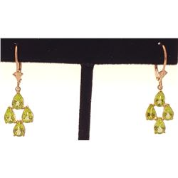 Jewelry - 4.5 Carat 14K Solid Rose Gold Peridot Spring Earrings
