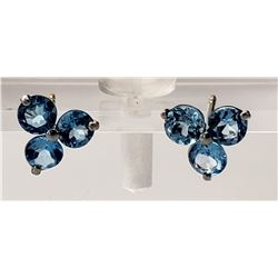 Jewelry - 1.5 Carat 14K Solid White Gold Coeurs De Papier Blue Topaz Earrings