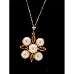 Jewelry - 6.3 Carat 14K Solid White Gold Fragrant Kiss Citrine Pearl Necklace