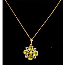 Jewelry - 2.43 Carat 14K Solid Yellow Gold Necklace Peridot Blue Topaz