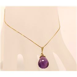 Jewelry - 7 Carat 14K Solid Yellow Gold Love All Amethyst Necklace