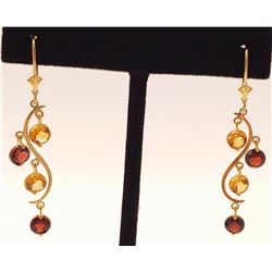 Jewelry - 4.6 Carat 14K Solid Yellow Gold Grape Garnet Citrine Earrings