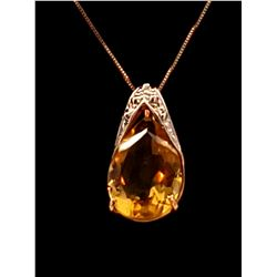 Jewelry - 5 Carat 14K Solid Rose Gold Necklace Natural Citrine