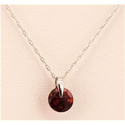 Jewelry - 1 Carat 14K Solid White Gold Don't Rush Love Garnet Necklace