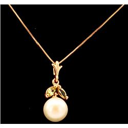 Jewelry - 2.2 Carat 14K Solid Yellow Gold Necklace Natural Pearl Peridot