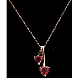 Jewelry - 1.4 Carat 14K Solid White Gold Hearts Necklace Natural Pink Topaz