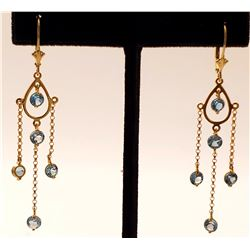 Jewelry - 3 Carat 14K Solid Yellow Gold Gilded Age Blue Topaz Earrings