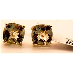Jewelry - 7.2 Carat 14K Solid Yellow Gold French Clips Earrings Green Amethyst