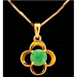 Jewelry - 0.55 Carat 14K Solid Yellow Gold Everything Flows Emerald Necklace