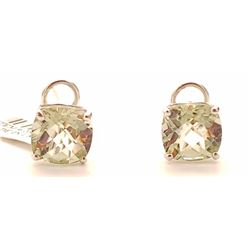 Jewelry - 7.2 Carat 14K Solid White Gold French Clips Earrings Green Amethyst