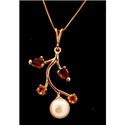 Jewelry - 14K Solid Rose Gold Necklace w/ Garnets, Citrines & Pearl