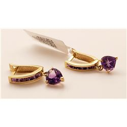 Jewelry - 3.2 Carat 14K Solid Yellow Gold V-shape Hoop Earrings Heart Amethyst
