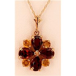 Jewelry - 2.43 Carat 14K Solid Rose Gold Dark Passion Garnet Citrine Necklace