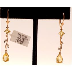 Jewelry - 3.97 Carat 14K Solid Rose Gold Chandelier Earrings Diamond Citrine