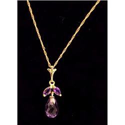 Jewelry - 1.7 Carat 14K Solid Yellow Gold Ease Into Love Amethyst Necklace
