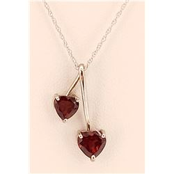 Jewelry - 1.4 Carat 14K Solid Yellow Gold Hearts Necklace Natural Garnet