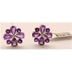 Jewelry - 4.85 Carat 14K Solid White Gold Written In Stone Amethyst Earrings