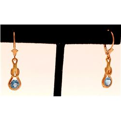 Jewelry - 14K Solid Rose Gold Leverback Earrings Blue Topaz Jewelry Genuine New