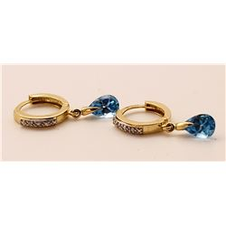 Jewelry - 1.37 Carat 14K Solid Yellow Gold Hoop Earrings Diamond Blue Topaz