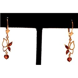 Jewelry - 14K Solid Rose Gold Butterfly Earrings w/ Garnets