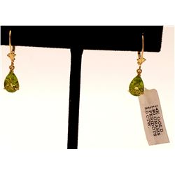 Jewelry - 3 Carat 14K Solid Yellow Gold Green Grass Peridot Earrings