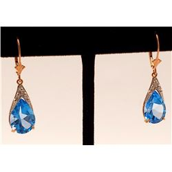 Jewelry - 12 Carat 14K Solid Rose Gold Ocean Blue Topaz Earrings