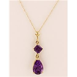 Jewelry - 2 Carat 14K Solid Yellow Gold Only One Amethyst Necklace