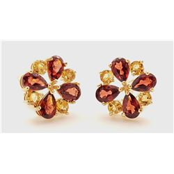 Jewelry - 4.85 Carat 14K Solid Yellow Gold French Clips Earrings Garnet Citrine