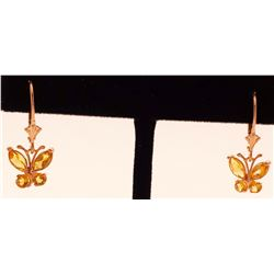 Jewelry - 1.24 Carat 14K Solid Rose Gold Butterfly Earrings Citrine
