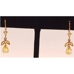 Jewelry - 3.4 Carat 14K Solid Rose Gold Citrine Envy Earrings