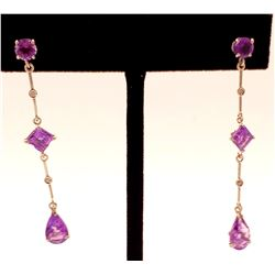 Jewelry - 14K Solid White Gold Chandelier Earrings Diamond & Amethyst Jewelry