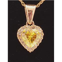 Jewelry - 1 Carat 14K Solid Rose Gold Necklace Natural Diamond Heart Citrine