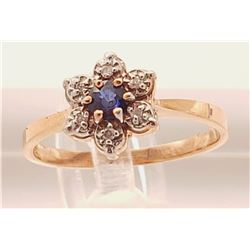Jewelry - 14k Gold Ring with Diamonds and Blue Sapphire