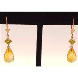 Jewelry - 14K Solid Rose Gold Leverback Earrings Peridot & Citrine Certified