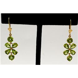 Jewelry - 5.32 Carat 14K Solid Yellow Gold Petals Peridot Earrings