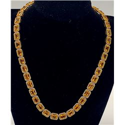 Jewelry - 84 Ctw Citrine and 5 Ctw Diamonds surrounded by 14k Yellow Gold Necklace