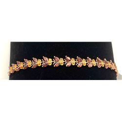 Jewelry - 16.50 Carat 14K Solid White Gold Butterfly Bracelet Garnet Citrine
