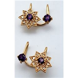 Jewelry - 18k Purple Amethyst and Diamonds Rose Gold Ear Hug Earrings